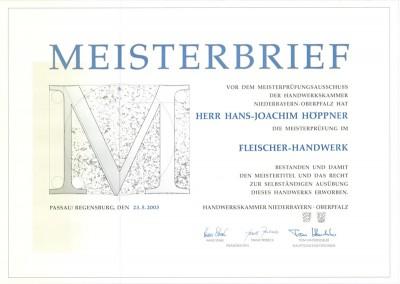 Catering Höppner Meisterbrief - Hans-Joachim Höppner