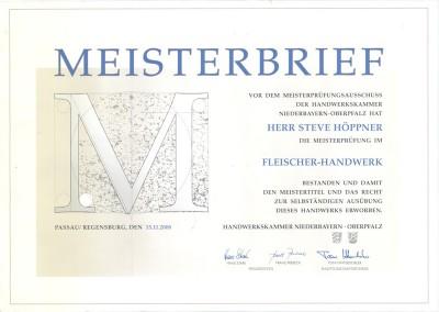 Catering Höppner Meisterbrief - Steve Höppner